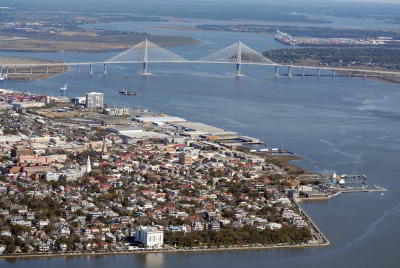 Aerial view of Charleston SC Battery and Cooper River Bridge