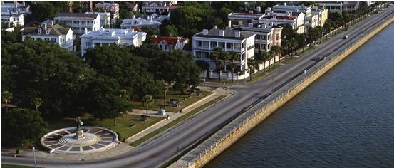 New color photo of Charleston South Carolina Battery Park
